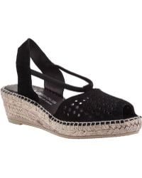 Andre Assous Connie Wedge Espadrille Black Suede - Lyst