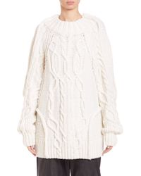 Vera Wang | Oversized Wool Fisherman Cable Sweater | Lyst
