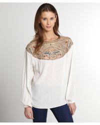 Love Sam Ivory Embellished Long Sleeve Blouse - Lyst