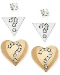 Guess Two Tone Crystal Pavé Stud Earring Set - Lyst