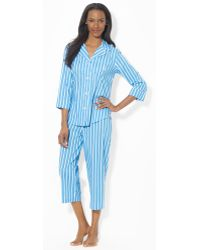 Lauren by Ralph Lauren - Striped Cropped Pyjama Set - Lyst