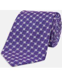 Turnbull & Asser | Slim Squares Purple Silk Tie | Lyst
