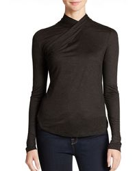 French Connection Criss Crossed Mock Turtleneck Top - Lyst