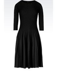 Emporio Armani Plissé Dress In Viscose Blend - Lyst