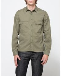 Topman   Olive Double Pocket Shirt   Lyst
