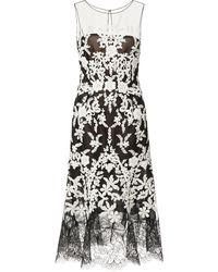 Oscar de la Renta Lacetrimmed Embellished Tulle Dress - Lyst