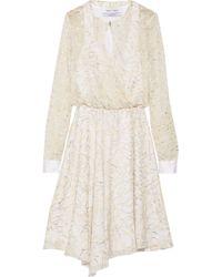 Prabal Gurung Metallic Wrap-Effect Embroidered Chiffon Dress - Lyst