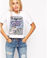 Asos Cropped T-Shirt With Unicorn Charms Glitter Print - Lyst