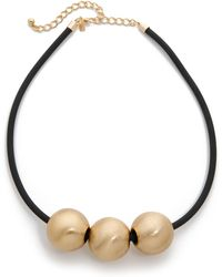 Kenneth Jay Lane - Sphere Trio Necklace - Gold/black - Lyst