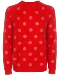 Paul Smith | Men's Red Tonal-polka Print Merino Wool Sweater | Lyst