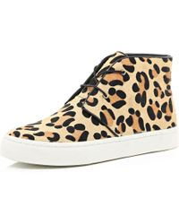 River Island Brown Leopard Pony Hair Desert Boots - Lyst