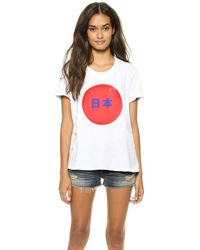 Textile Elizabeth And James Japan Bowery Tee Whiteredblue - Lyst