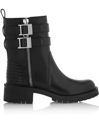 Givenchy Buckled Leather Biker Boots - Lyst