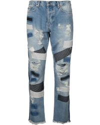 James Long - Distressed Patched Jeans - Lyst
