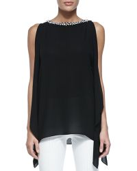 Michael Kors Embellished Boat-neck Tunic - Lyst