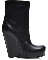 Rick Owens Wedge Leather Boots - Lyst