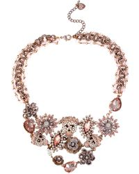 Betsey Johnson Patina Skull and Flower Frontal Necklace - Lyst
