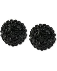 Steve Madden Black-tone Pavé Crystal Stud Earrings - Lyst