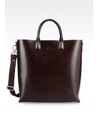 Giorgio Armani Large Shopping Bag In Smooth Calfskin - Lyst