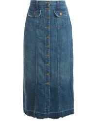 Current/Elliott Sawy Denim Skirt blue - Lyst