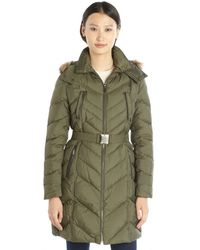 Cole Haan Fatigue Quilted Down Filled Hooded Belted Jacket - Lyst