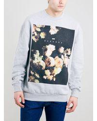 Topman Grey Floral Placement Vintage Oversized Fit Sweatshirt - Lyst