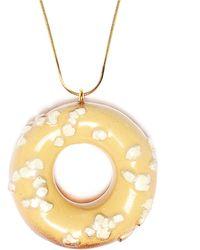Tadam! Design - Doughnut White Sprinkles Necklace (gold Chain) - Lyst