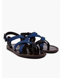 Lanvin Mens Blue Crossstrap Leather Sandals - Lyst