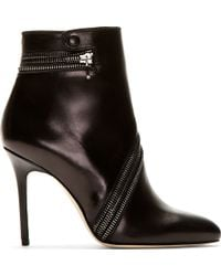 Brian Atwood Black Leather Nebula Ankle Boots - Lyst