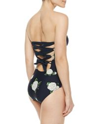 Camilla & Marc Bandeau Laceup Maillot Swimsuit - Lyst