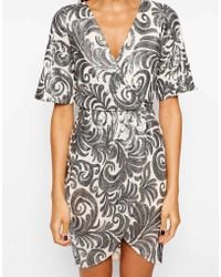 Tfnc Wrap Dress in Sequin Leaf - Lyst