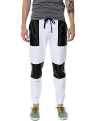 Gag Threads White Joggers with Black Quilt Detail  Three Pockets - Lyst