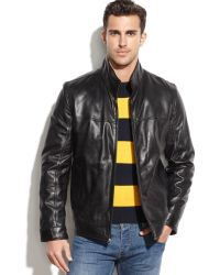 Tommy Hilfiger Smooth Leather Jacket - Lyst