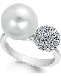 City By City | Silver-tone Pavé Ball And Imitation Pearl Ring | Lyst