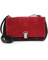 Proenza Schouler Ps Courier Suede Leather Shoulder Bag - Lyst