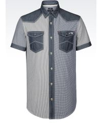 Armani Jeans Slim Fit Cotton Shirt With Chambray Details - Lyst