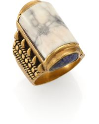 A Peace Treaty - Yabaana White Agate Carved Bezel Ring - Lyst