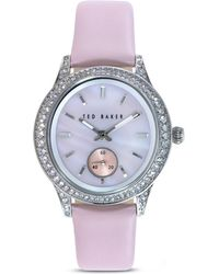 Ted Baker Vintage Glam Leather Strap Watch 34mm - Lyst