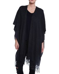 White + Warren Two Way Fringe Popover Sweater Wrap - Lyst
