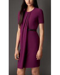 Burberry Satinback Crepe Pleat Detail Dress - Lyst