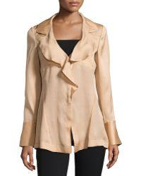 Donna Karan New York Long-Sleeve Ruffled Silk Blouse - Lyst