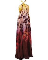 Matthew Williamson Hibiscus Silk Chiffon Gathered Knot Gown - Lyst