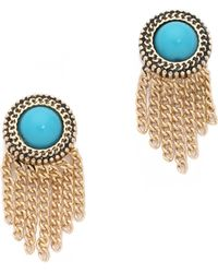 Sam Edelman - Stone Fringe Stud Earrings - Turquoise/gold - Lyst