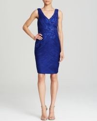 Sue Wong Dress Sleeveless Double V Beaded Ruched Sheath - Lyst