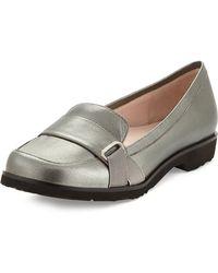 Taryn Rose Jaz Metallic Napa Leather Loafer - Lyst