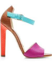 Brian Atwood Iosy Color-Block Snakeskin Sandals - Lyst
