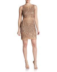 Adrianna Papell Embellished Sleeveless Sheath Dress - Lyst