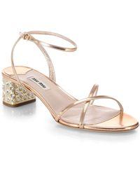 Miu Miu Metallic Leather And Swarovski Crystal-Heel Sandals - Lyst