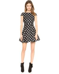 Alice + Olivia Alice  Olivia Amor Box Pleat Heart Dress - Blackwhite - Lyst