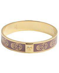 Alexander McQueen Violet And Gold Enamel Skull Bangle purple - Lyst